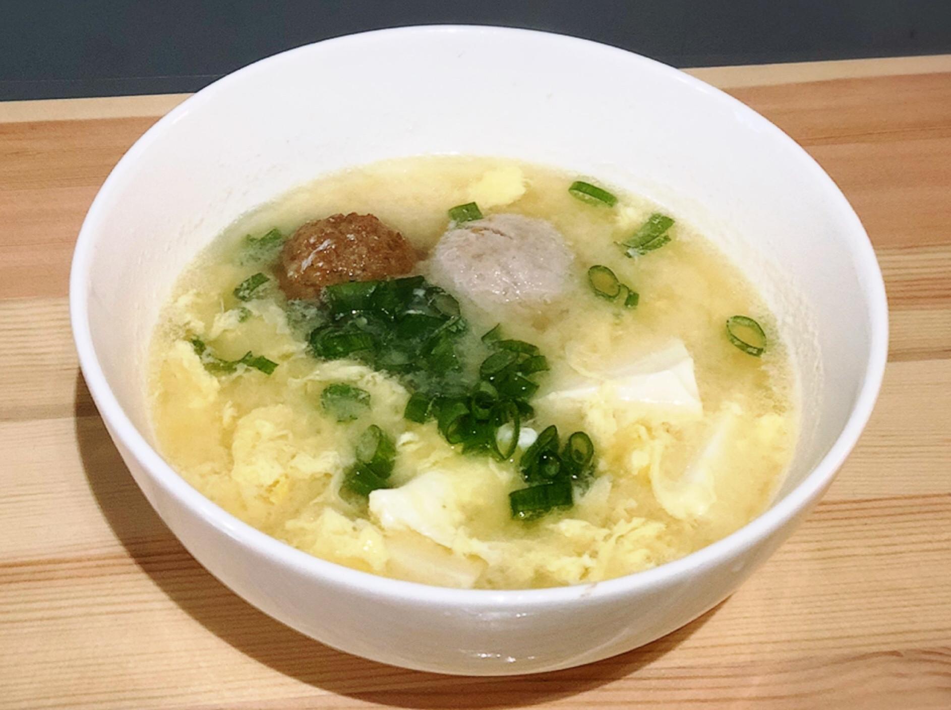 味增貢丸豆腐蛋花湯(可加海帶芽)