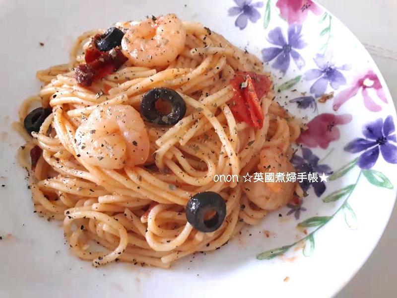※地中海風味※蕃茄辣味鮮蝦義大利麵
