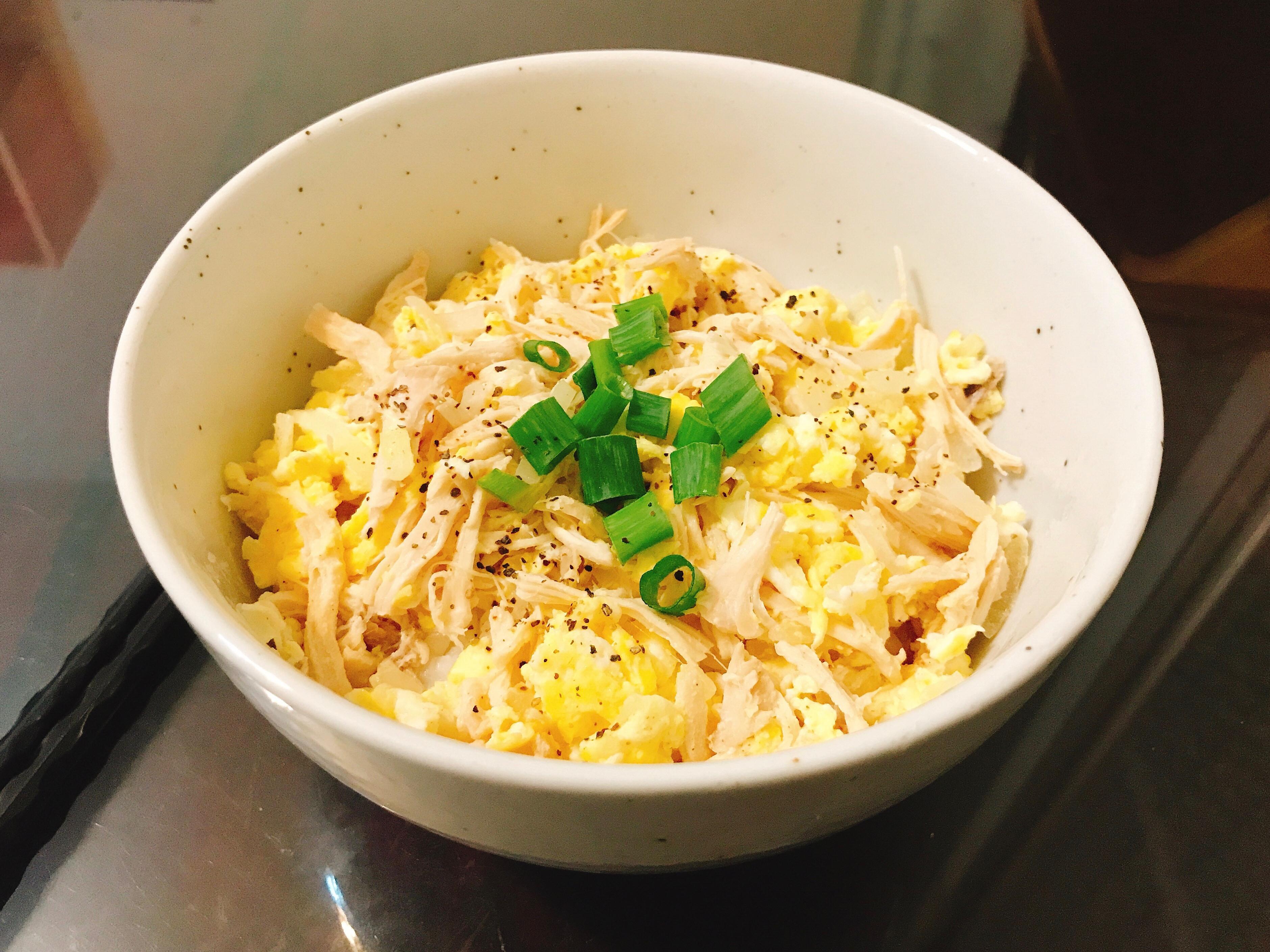 雞絲洋蔥蛋蓋飯(減脂10分鐘料理)