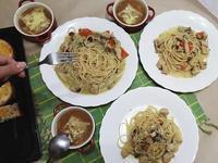 綠咖哩菇菇義大利麵