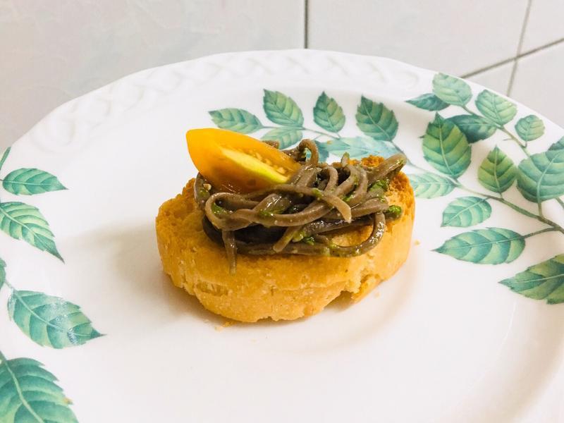 南瓜佛卡夏青醬蕎麥麵(開胃小點)