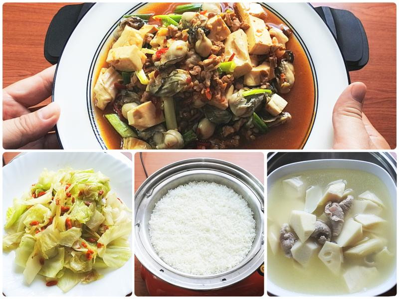 麻婆豆腐燴鮮蚵、枸杞高麗菜-美味低溫料理