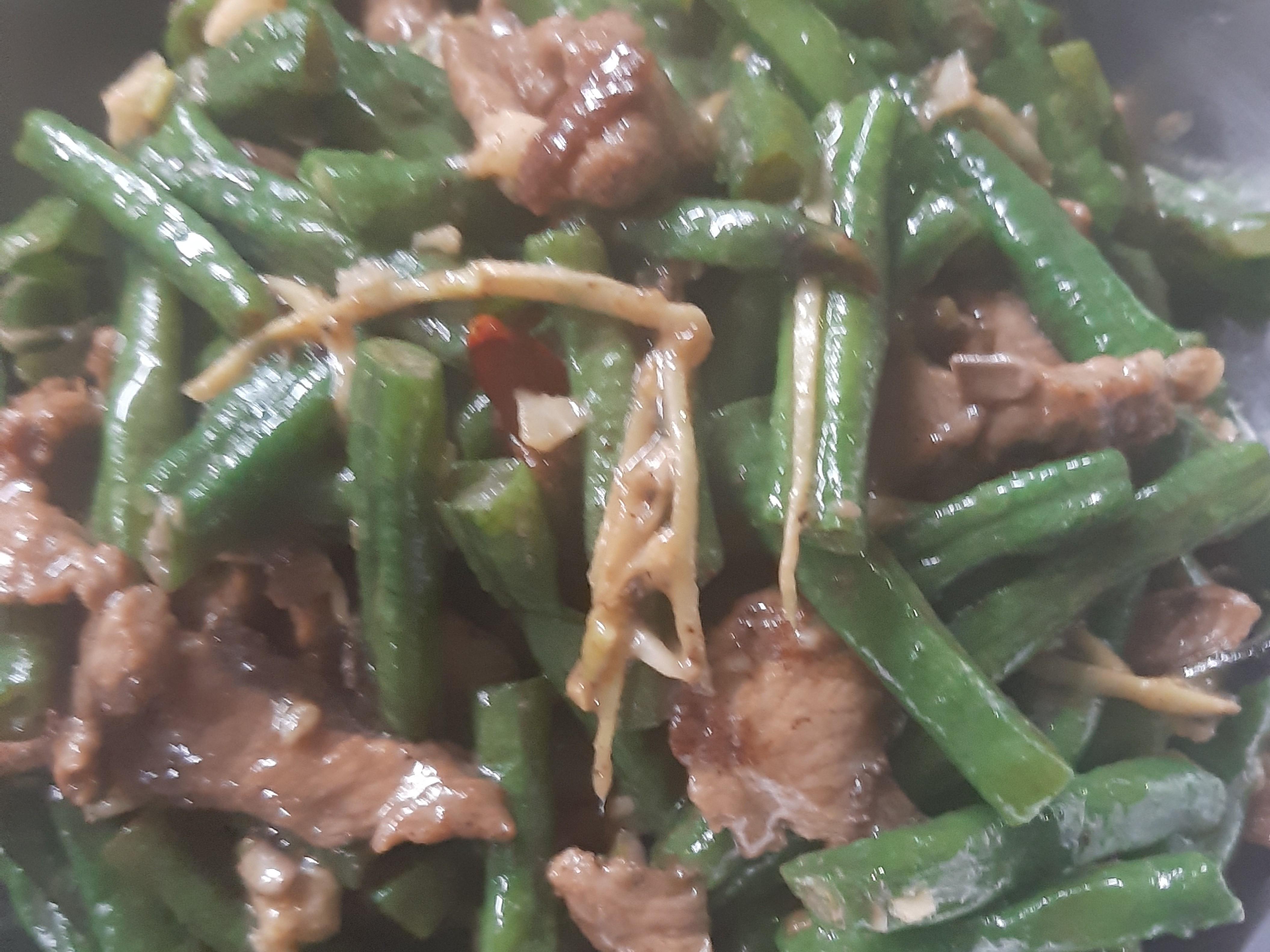 肉片炒長豆(菜豆)