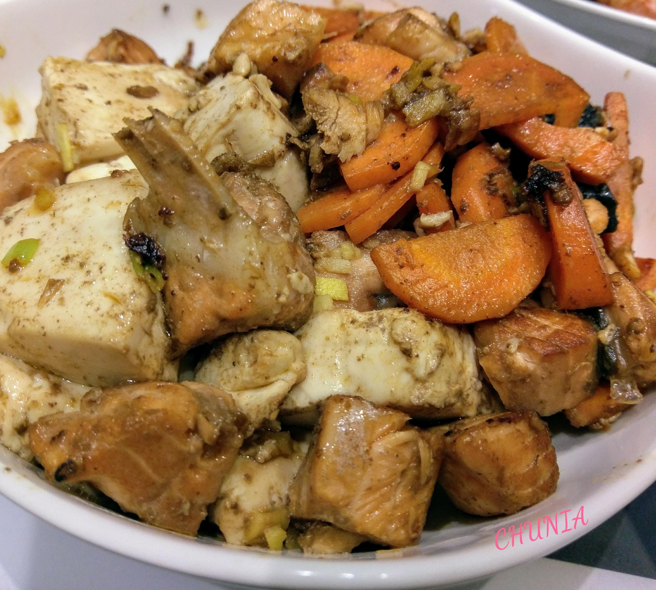 簡單燒- 味增鮭魚豆腐