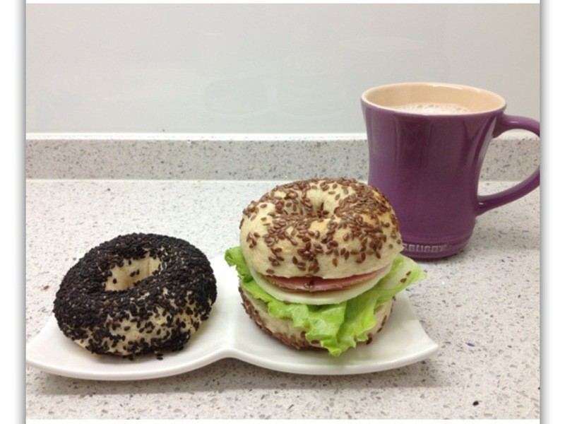 [Witi✿Kitchen](麵包機-麵包)亞麻籽貝果三明治
