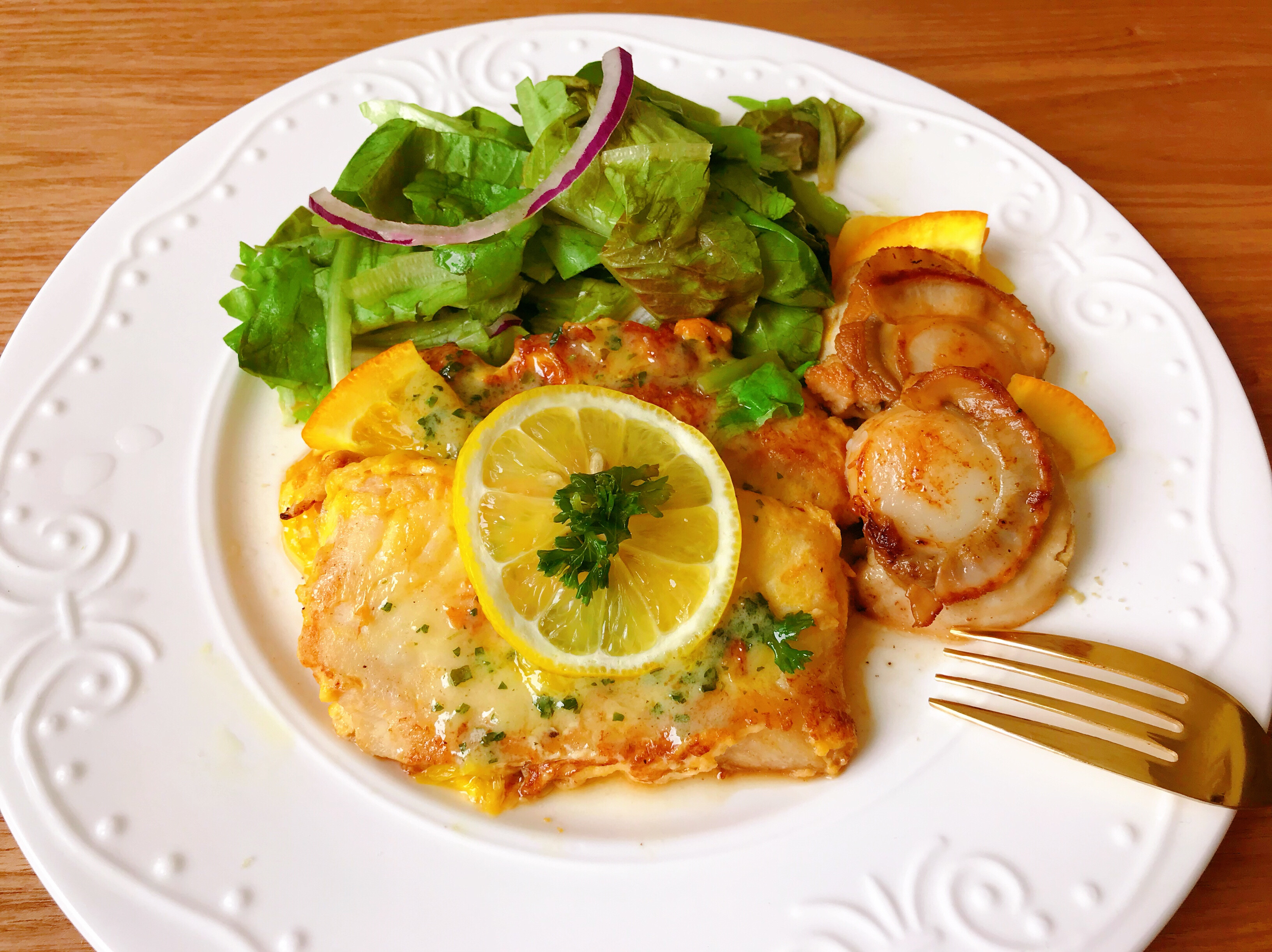 橙汁煎鱈魚奶油干貝