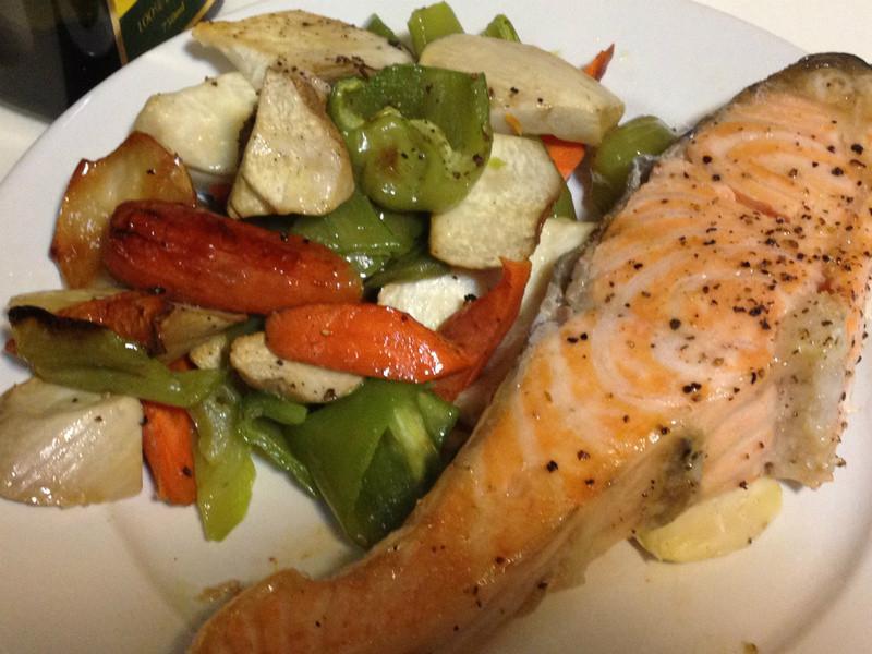 黃金玄米健康油--- 香烤蔬菜鮭魚