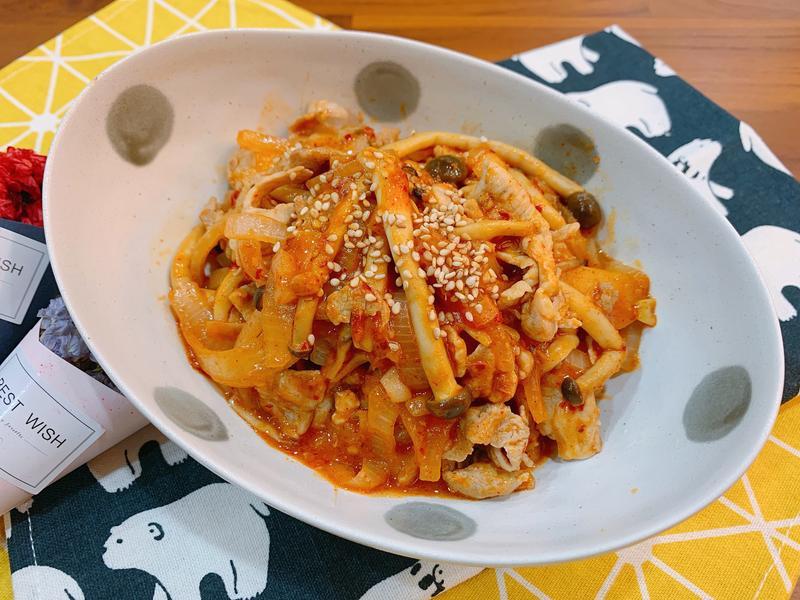 韓式辣炒菇菇豬肉片