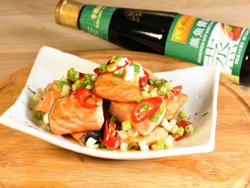 蒸魚醬淋鮭魚塊