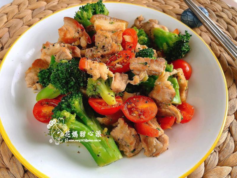 鮮茄西蘭蒜香五花(家常料理)