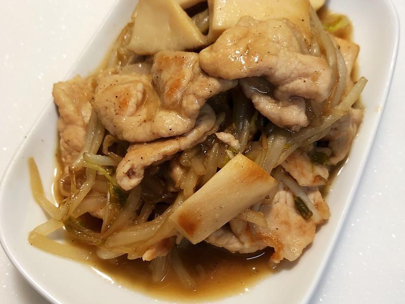 豆芽菜炒杏鮑菇肉片