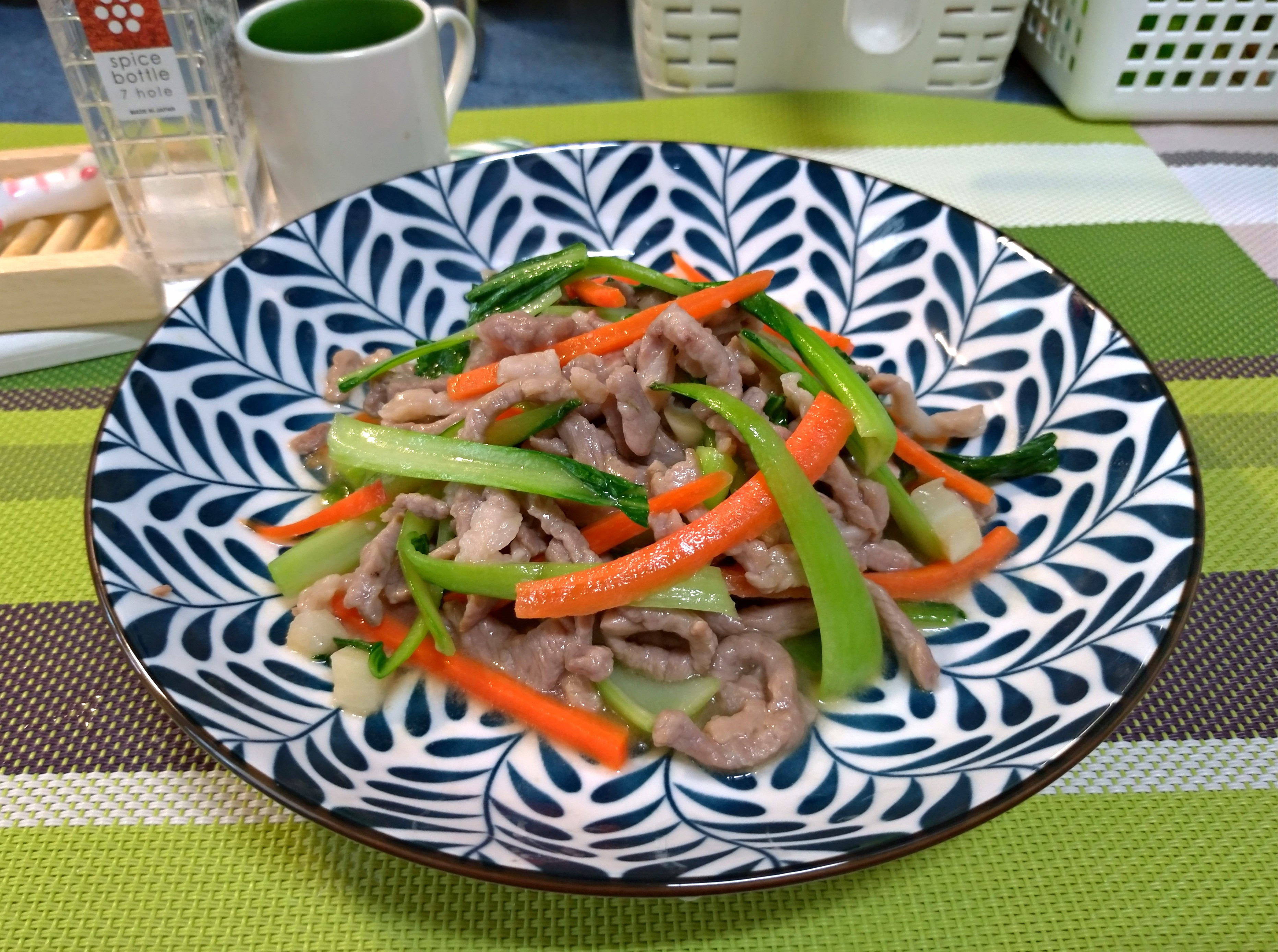 青江菜炒肉絲