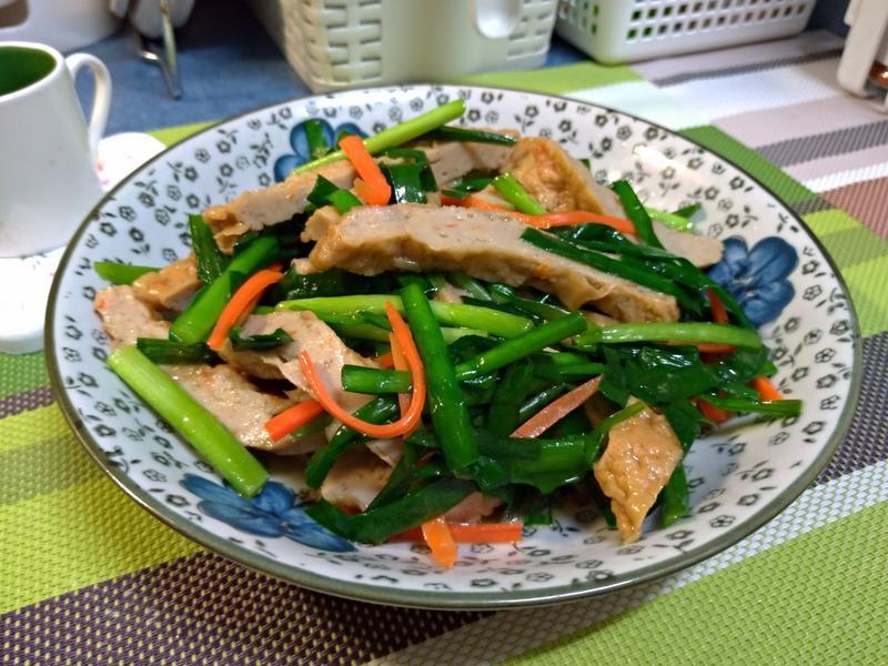 綠韭菜炒甜不辣