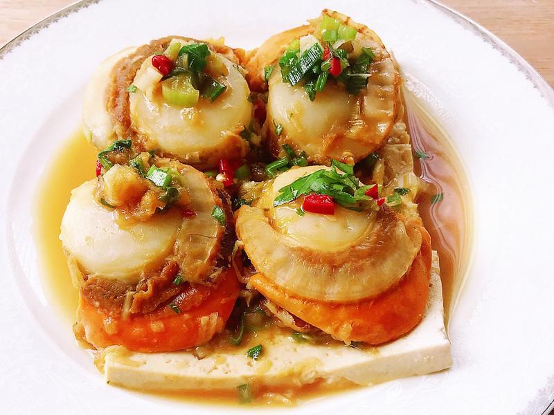 蒜泥蒸干貝板豆腐(懶人料理/減醣)
