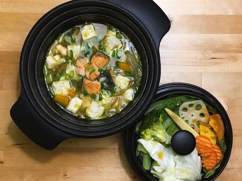 鮭魚野菜味增雜煮+蒸野菜