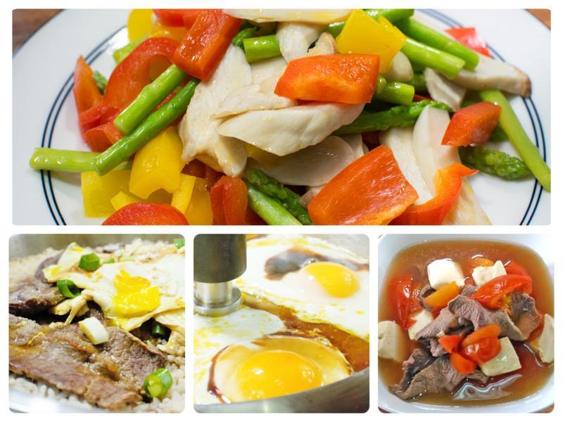 三色素蔬、牛丼蓋飯、半熟蛋-美味低溫料理