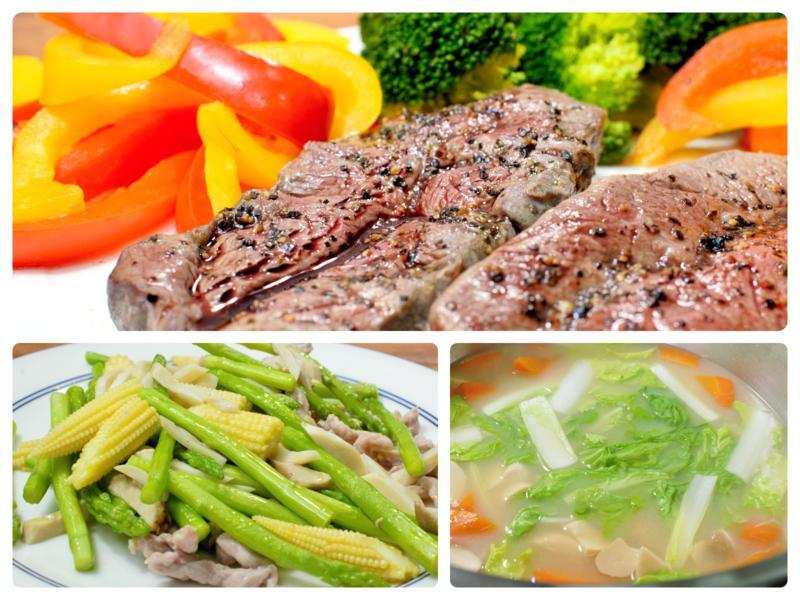 嫩煎板腱牛排、鮮炒蘆筍肉絲-美味低溫料理