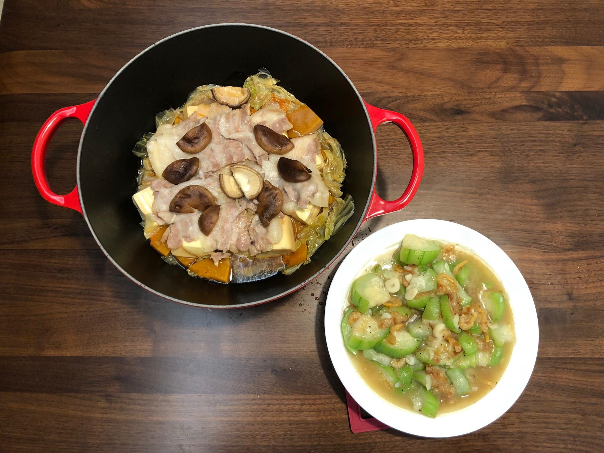 《鑄鐵鍋料理》疊煮南瓜五花肉