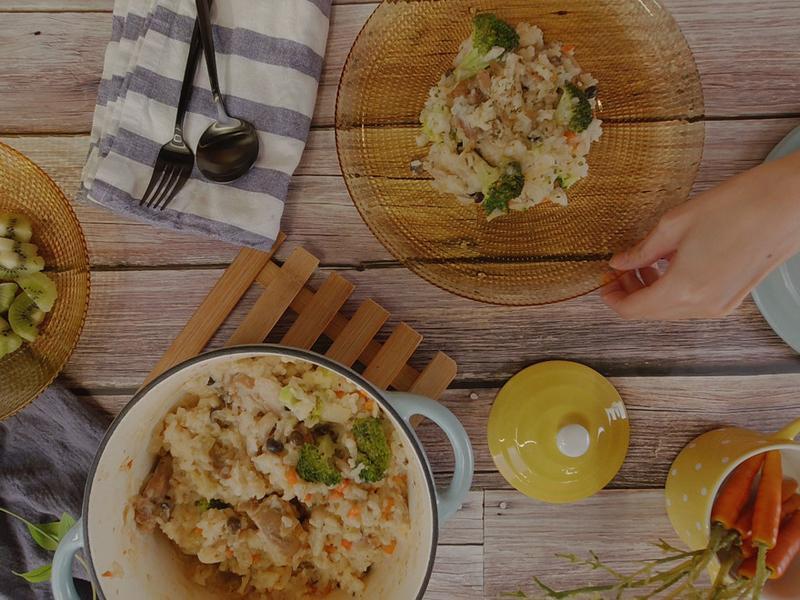 奶油野菇雞肉燉飯-懶人版