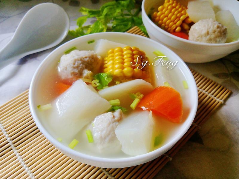玉米蘿蔔魚丸湯&嫩薑蒸南瓜(電子鍋版)