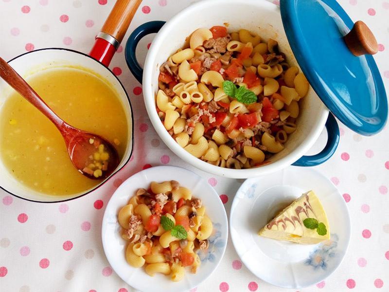 番茄蘑菇肉醬義大利麵。一鍋到底煮法