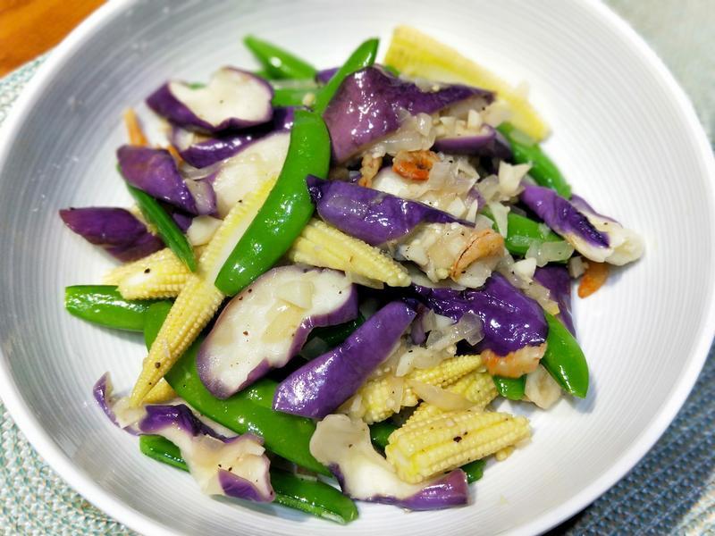 蝦米炒茄子甜豆玉米筍