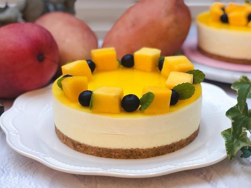 百香芒果雙層生乳酪蛋糕(免烤箱)