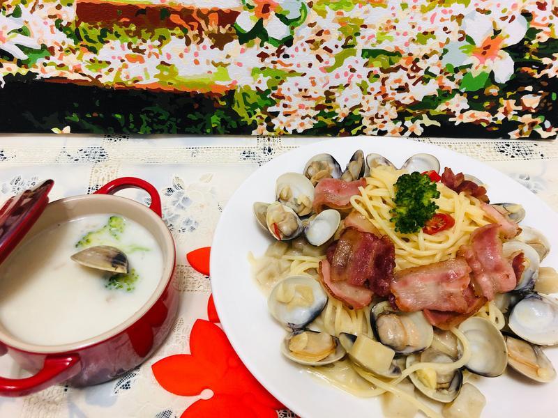 培根蛤蠣意大利麵