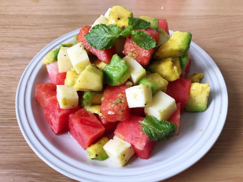 西瓜酪梨起司沙拉(快速/無火烹調/水果)