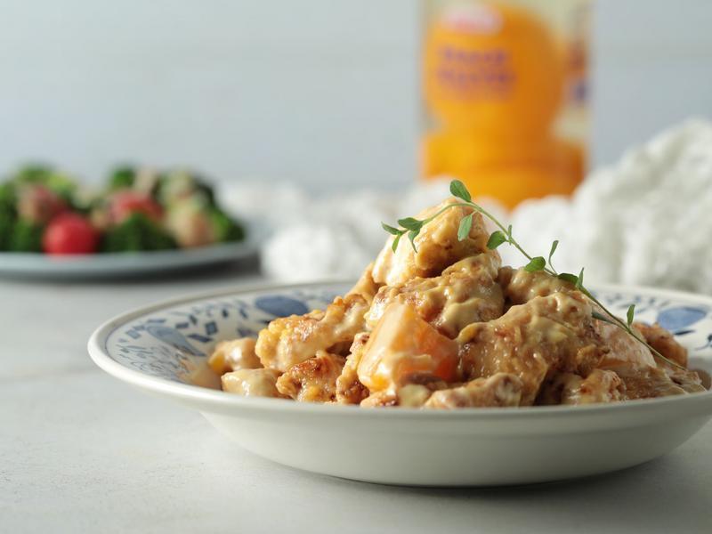 水蜜桃醬燴炸雞塊