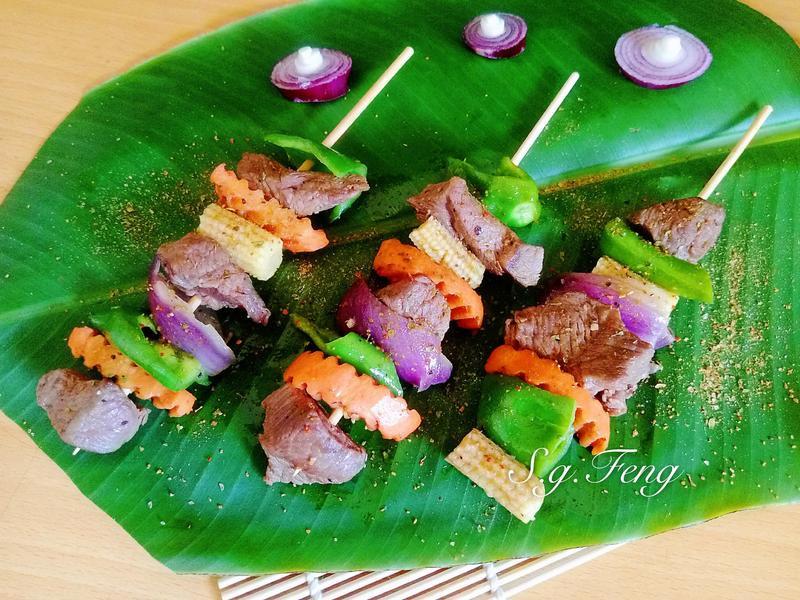 孜然風味蔬菜牛肉串