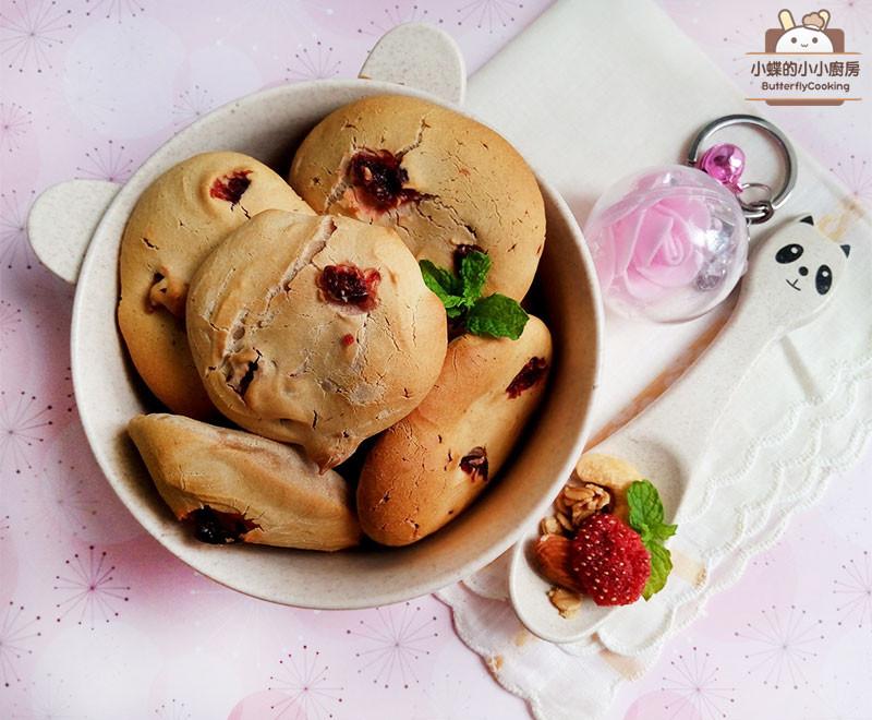 莓李麻糬麵包♥免預拌粉的仿韓國麵包