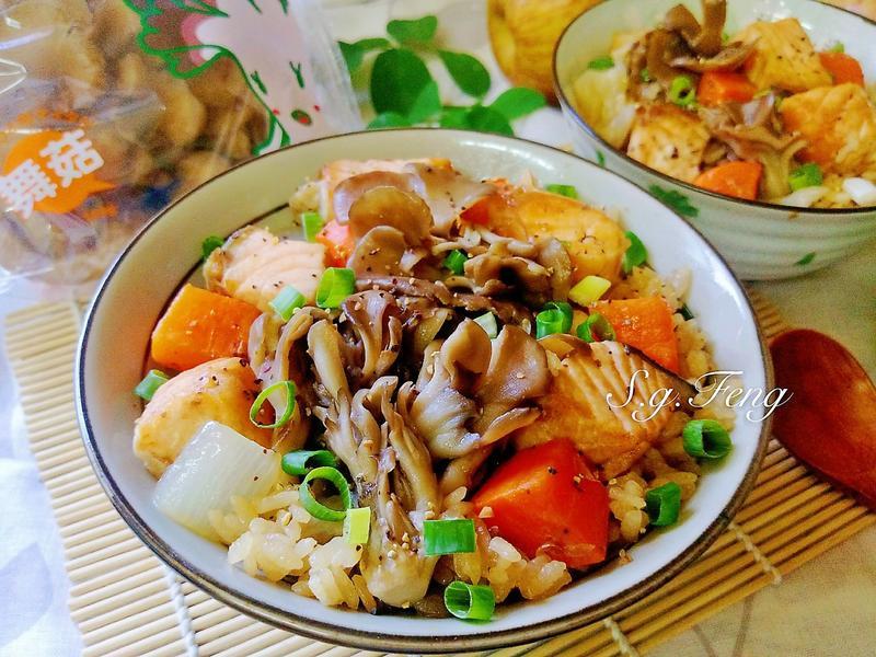 舞菇鮭魚炊飯-電鍋版【好菇道營養料理】