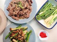 蘆筍二吃 - 蘑菇炒蘆筍 + 蘆筍沙拉