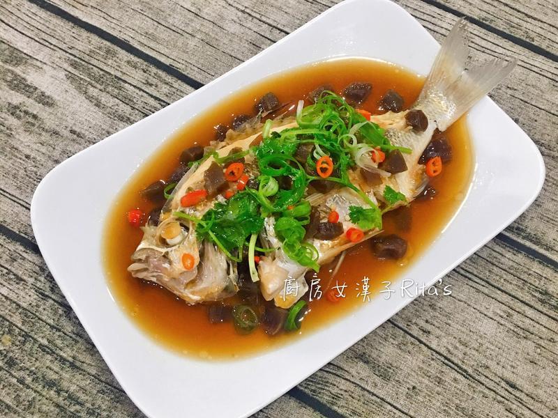醃菜心蒸鮮魚