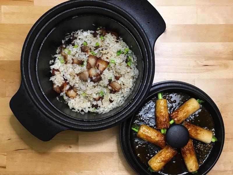 鹹豬肉炒飯+味增醬燒竹輪