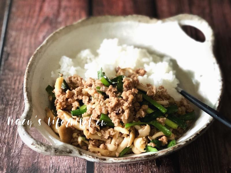 鴻白韭菜豬肉拌飯「好菇道營養食譜」