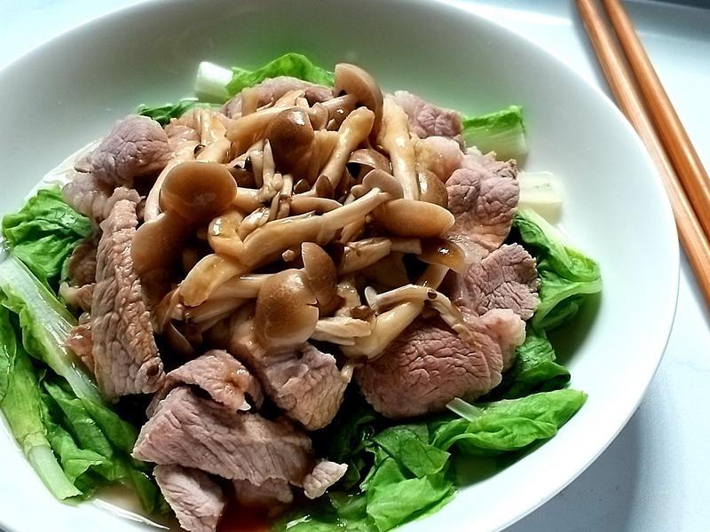 和風柚香涼拌鮮菇五花肉【好菇道營養料理】