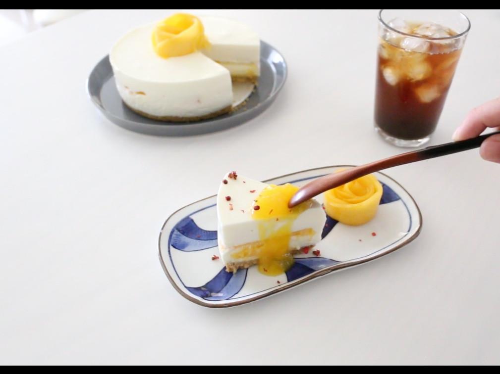 芒果生乳酪蛋糕❤️免烤箱