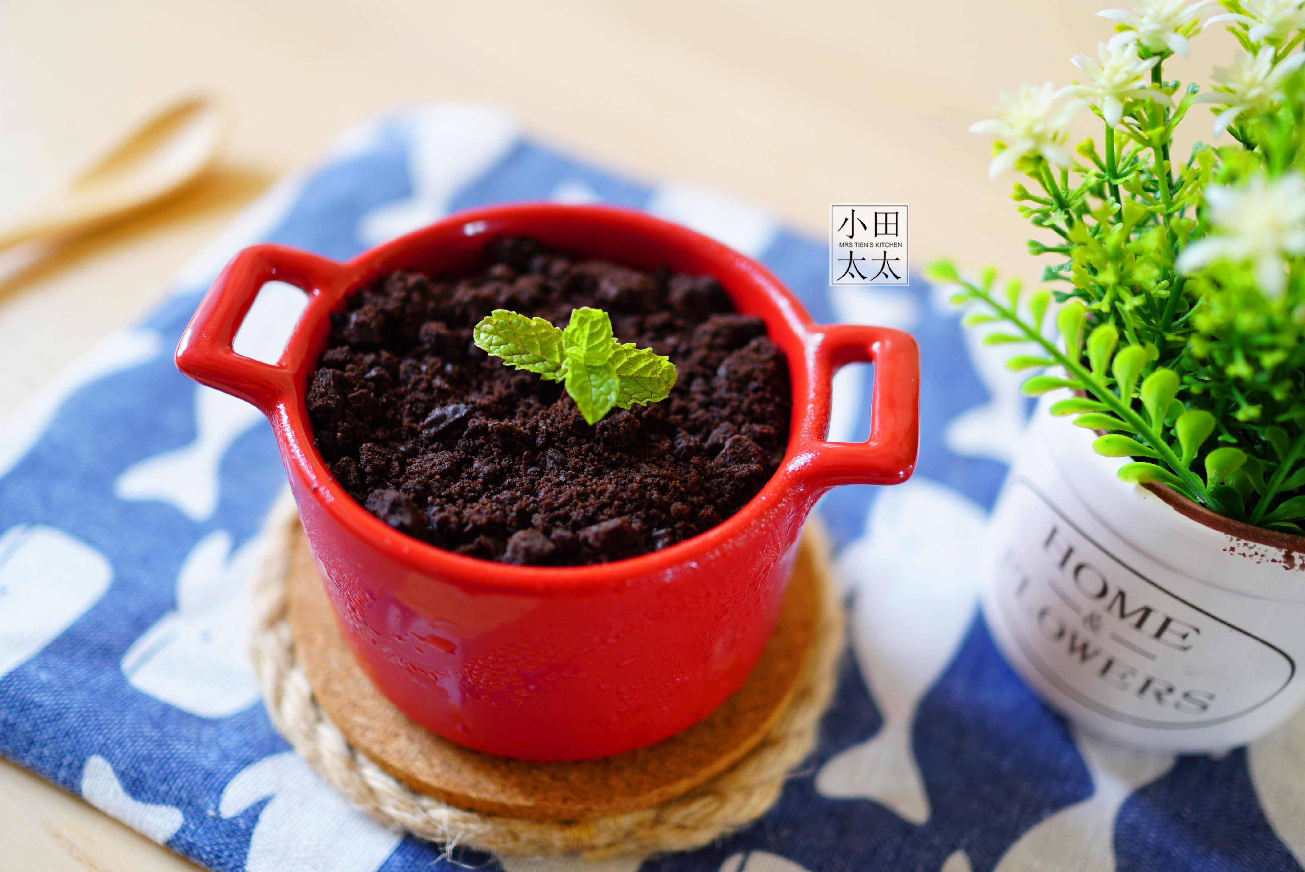 免烤箱甜點輕鬆上手~巧克力奶酪盆栽!