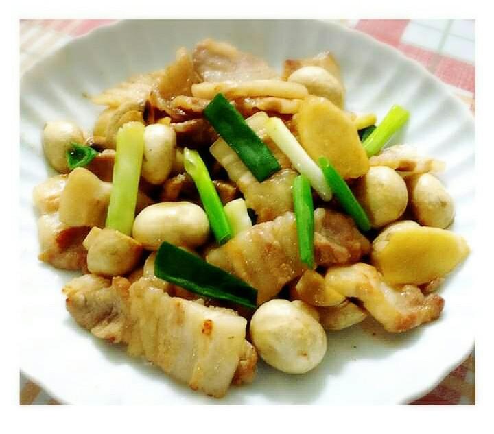 豬五花肉片炒洋菇