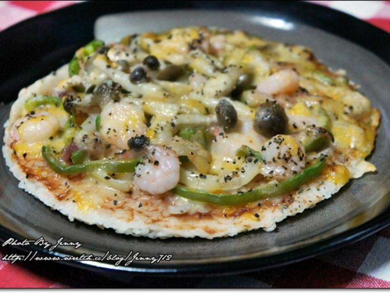 蝦仁鮮菇米飯披薩