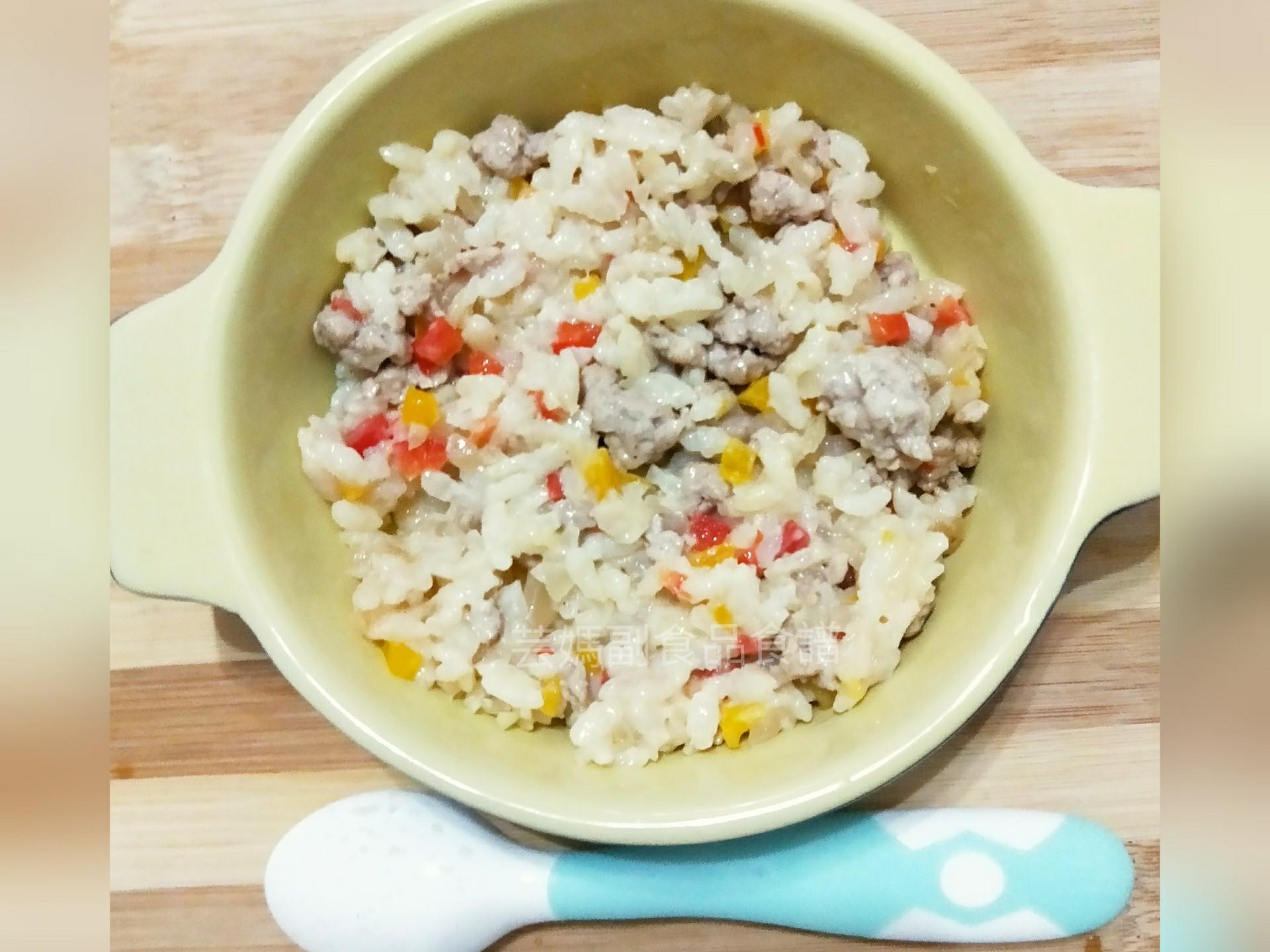 親子共食-奶香彩椒豬肉燉飯-副食品