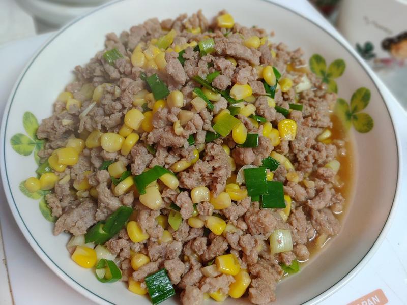 沒誠意之玉米粒炒豬瘦絞肉(懶人簡易版)