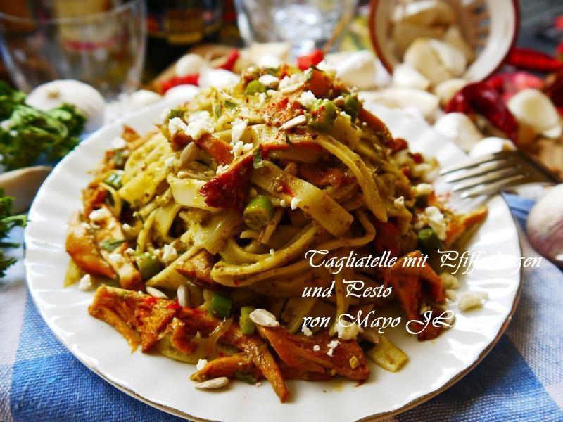 雞油菌菇佐青醬義大利麵