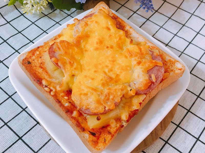 氣炸鍋料理-簡易吐司披薩(夏威夷披薩)