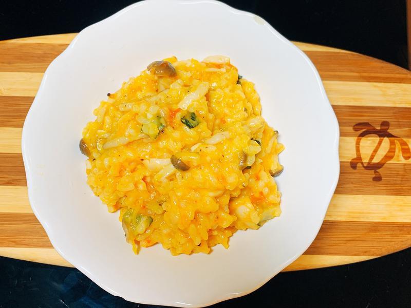[電鍋]南瓜番茄鮮菇燉飯