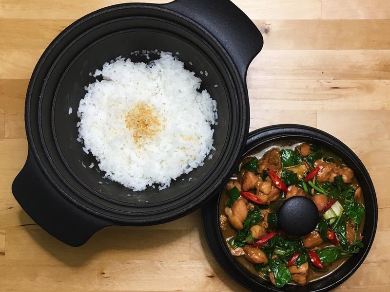 日本阿蘇湧水白米飯+熱炒三杯雞