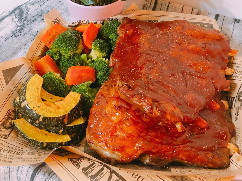 氣炸鍋料理-美式豬肋排