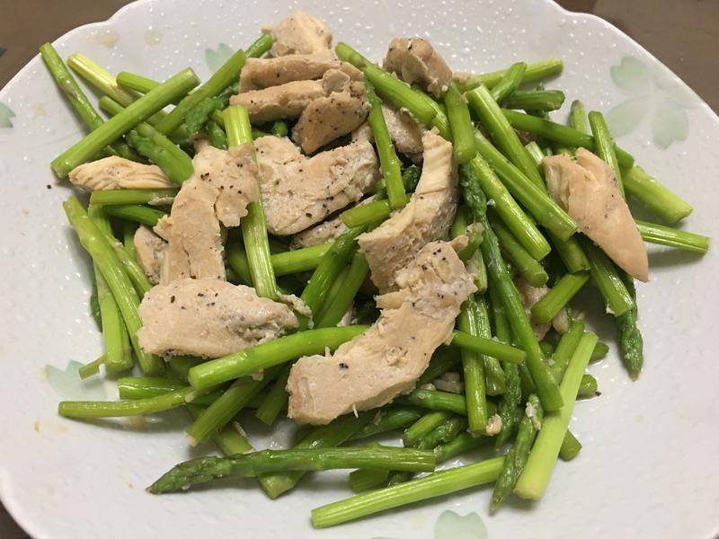 減醣料理 蘆筍炒雞胸肉(照燒口味)